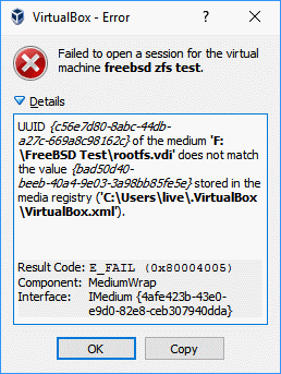VirtualBox error message